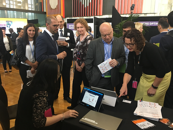 Government Statistician Liz MacPherson (right) shows a delegation from Uruguay what can be done with integrated data.